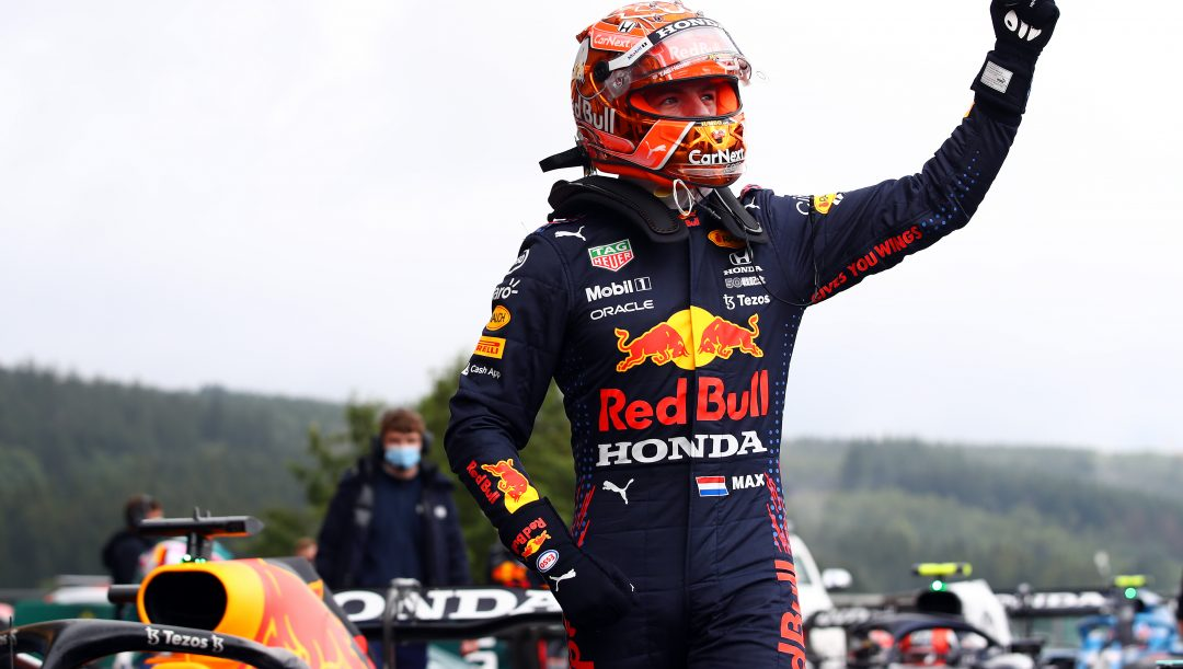 SPA, BELGIUM - AUGUST 28: Pole position qualifier Max Verstappen of Netherlands and Red Bull Racing celebrates in parc ferme during qualifying ahead of the F1 Grand Prix of Belgium at Circuit de Spa-Francorchamps on August 28, 2021 in Spa, Belgium. (Photo by Mark Thompson/Getty Images)